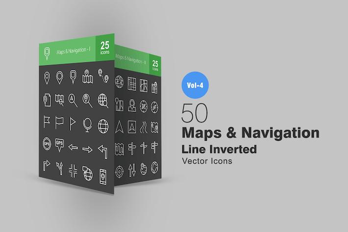 Thumbnail for 50 Карты и навигационная линия Инвертированные Иконки