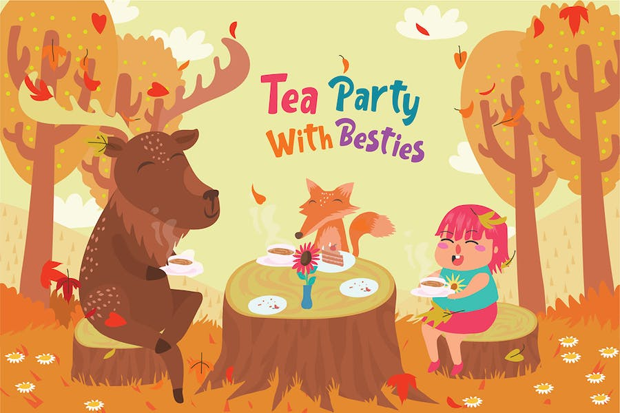 Tea party Besties - Vector Illustration