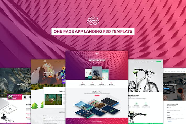 Thumbnail for Riven - One Page App Landing PSD Template