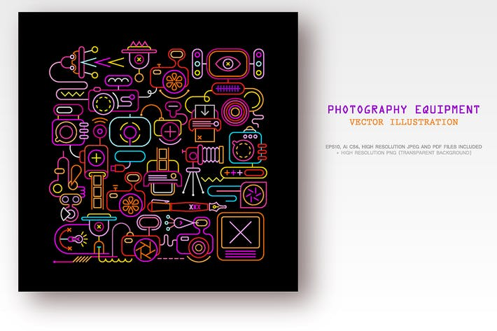 Cover Image For Photo Equipment (neon + outline, 3 options)