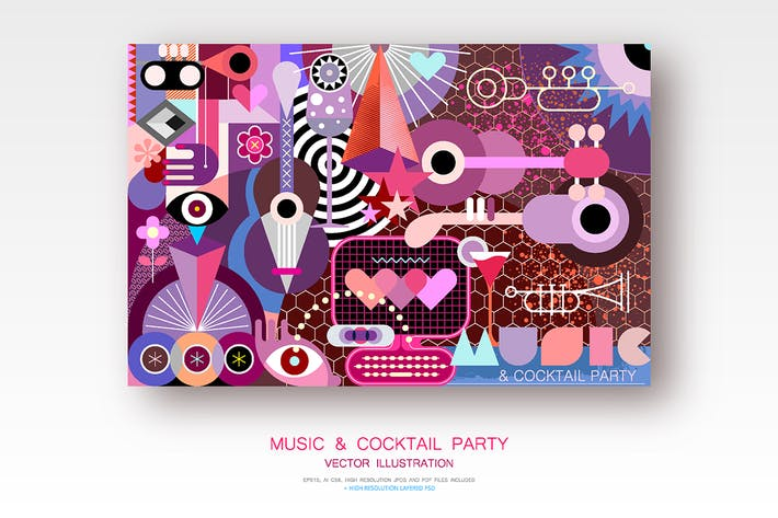 Thumbnail for Music and Cocktail Party vector illustration