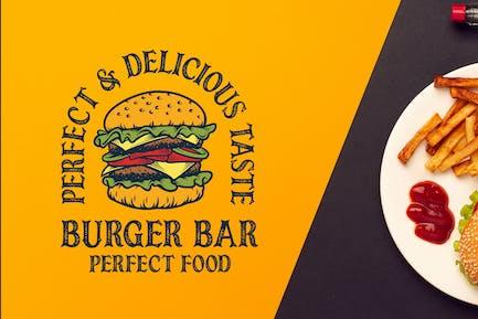 Burger Bar Vintage Logo Template