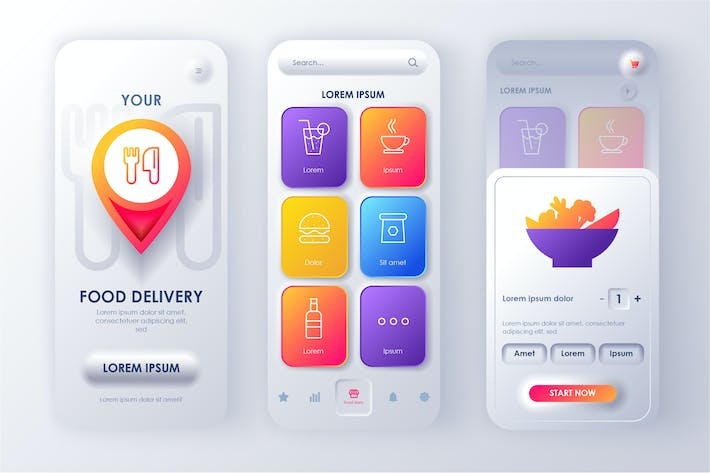 Thumbnail for Delivery Food Neumorphic Mobile App UI Kit