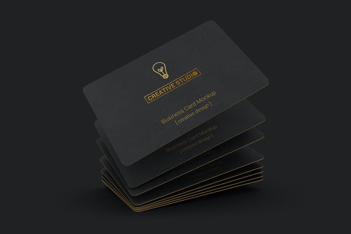 Cover Image For 85x55 Black Business Card Mockups