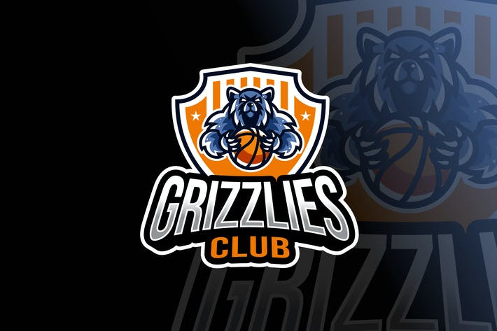 Thumbnail for Grizzlies Basketball Logo Template