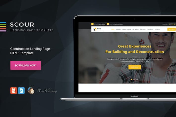 Thumbnail for Scour - Construction HTML Page Template