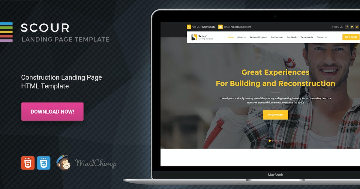 Download Scour - Construction HTML Page Template by Morad