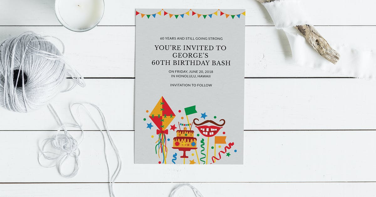60th Birthday Invitation Card By Squirrel92 On Envato Elements