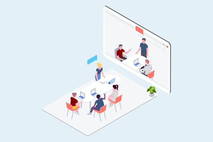 Thumbnail for Video Meeting Isometric Illustration