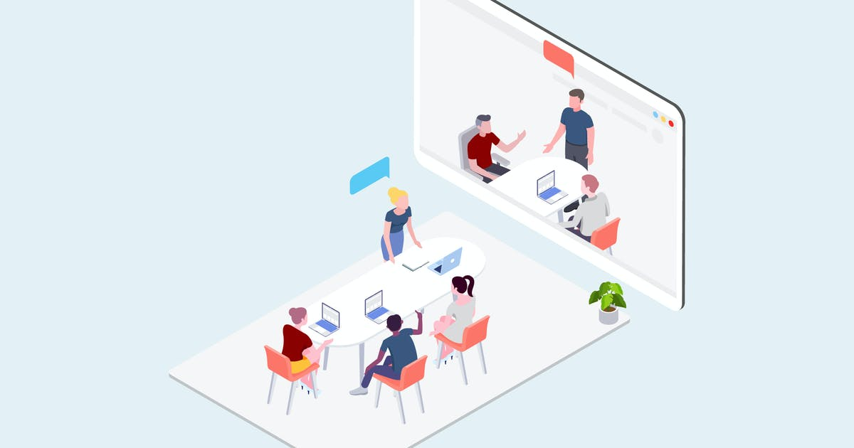 Download Video Meeting Isometric Illustration by angelbi88
