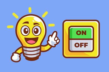 Ampoule de bande dessinée pointée sur l'interrupteur