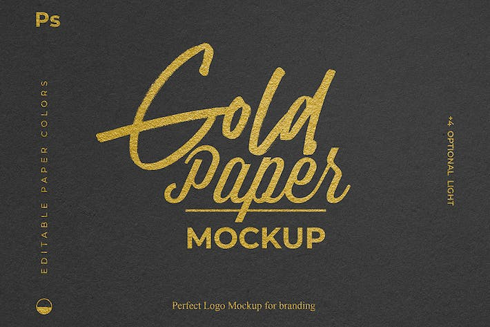 Thumbnail for Gold Foil Paper Logo Mockup