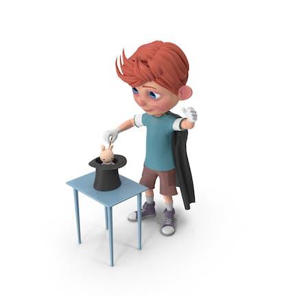 Cartoon Boy Charlie Durchführung Ein Hut Trick