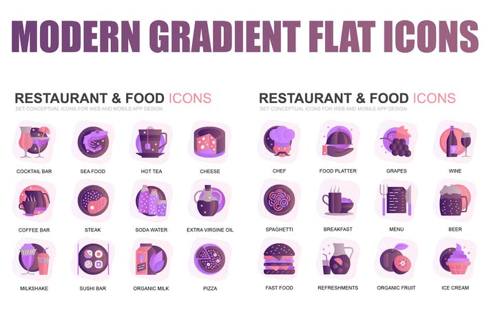 Thumbnail for Modern Set Gradient Flat Icons