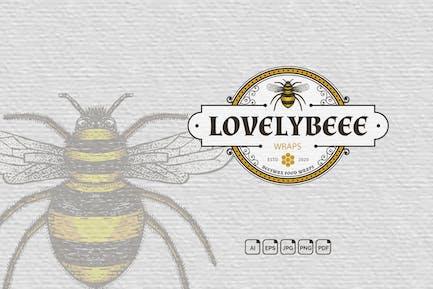 Bee Vintage Handdrawn Logo