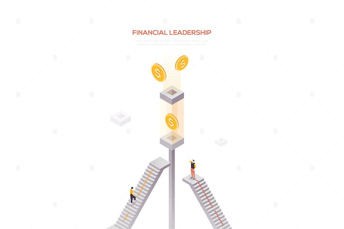 Thumbnail for Financial leadership - modern isometric web banner