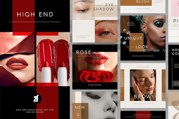 Thumbnail for Beauty high-end social media graphic templates