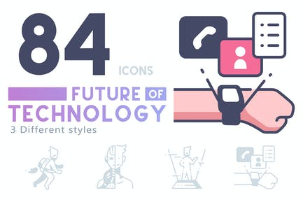 84 Zukunft der Technologie Ikonensatz