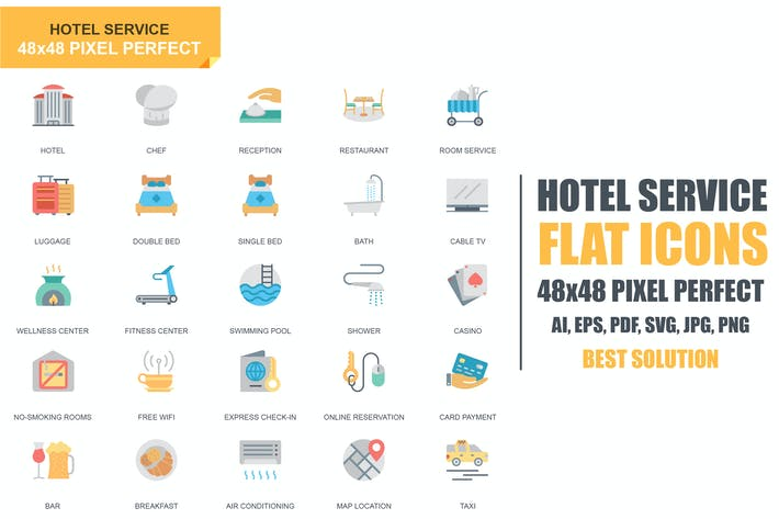 Thumbnail for Simple Set Hotel Services Flat Icons