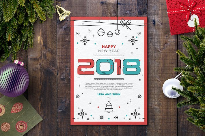 Thumbnail for Happy new year card template