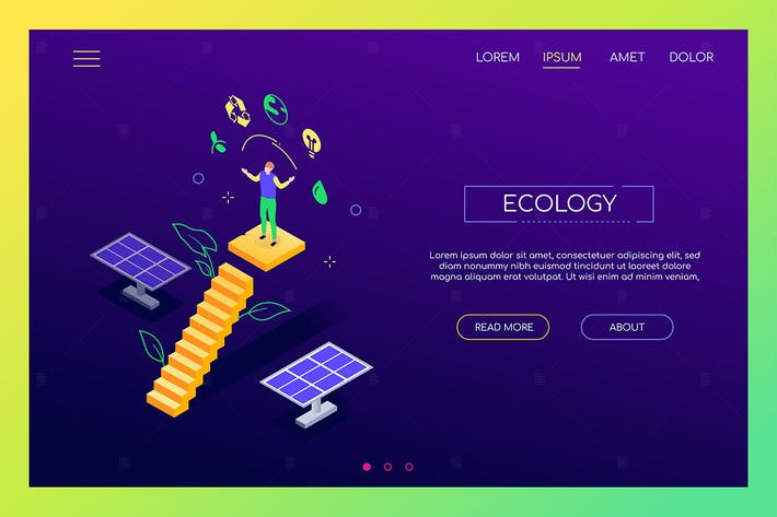 Thumbnail for Ecology - modern colorful isometric web banner