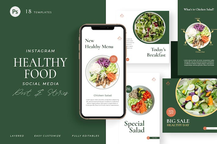 Thumbnail for Healthy Food Cafe - Instagram Pack