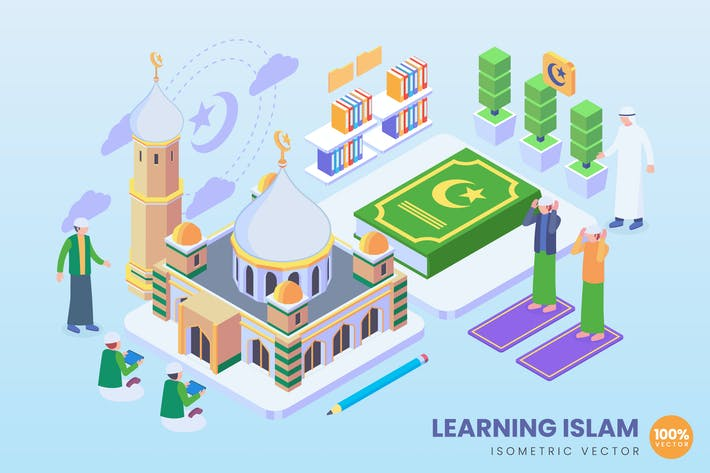Thumbnail for Isometric Learning Islam Vector Concept