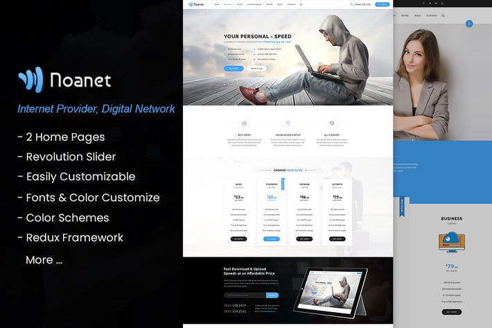 Thumbnail for Noanet - Internet, Digital Network WordPress Thema