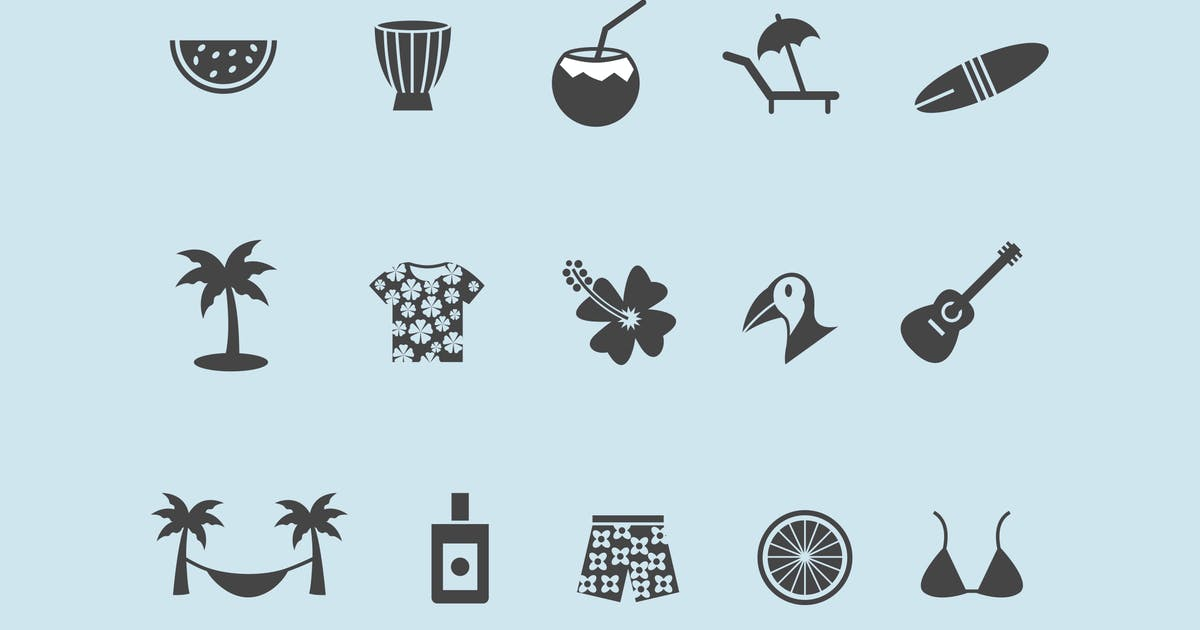 15 Tropical Icons by creativevip