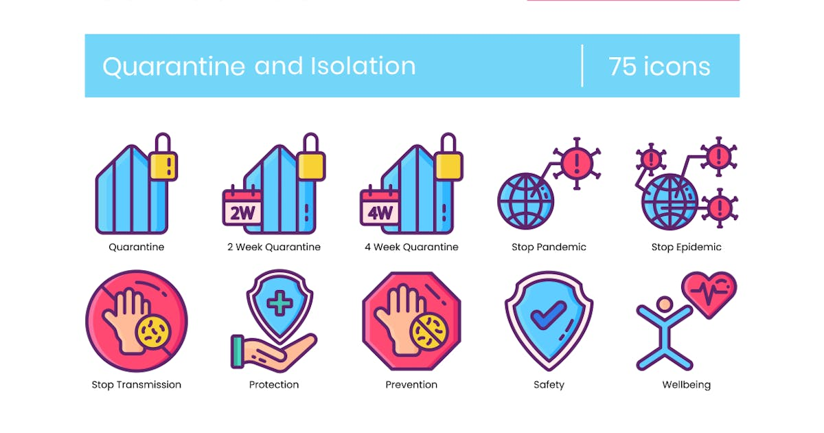 Download 75 Quarantine and Isolation Line Icons by Krafted