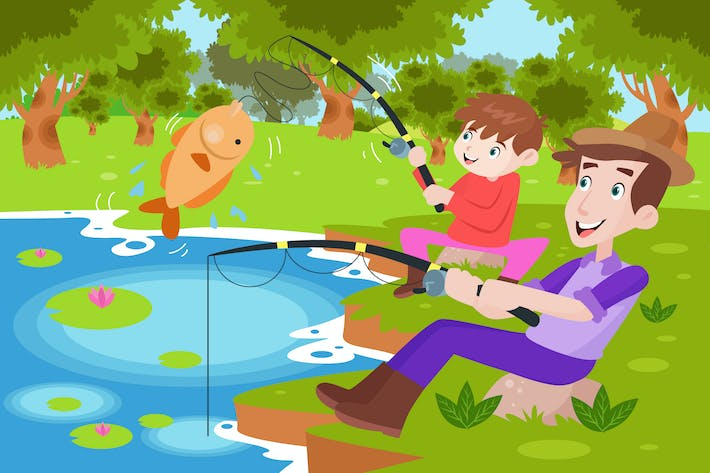 Thumbnail for Boy Fishing with His Daddy - Activity Illustration