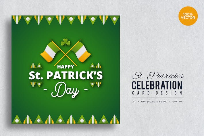 Thumbnail for St. Patrick's Day Square Vector Card Vol.2