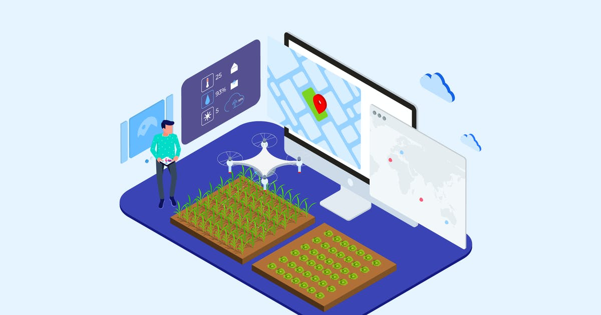 Download Automatic Watering with Drones Isometric - T2 by angelbi88