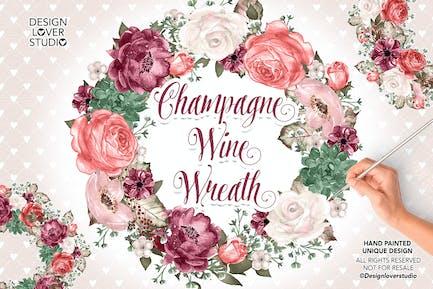 Champagner und Weinkränze