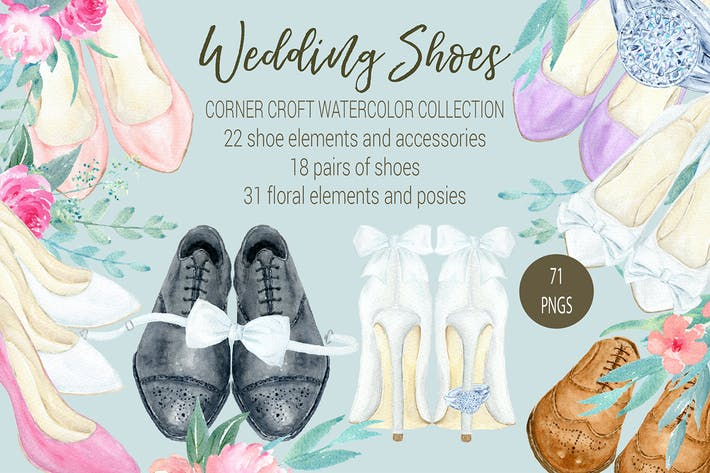 Thumbnail for Watercolor Wedding Shoes Collection