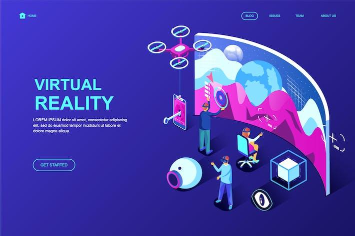 Thumbnail for Plantilla de Página de inicio isométrico de realidad virtual