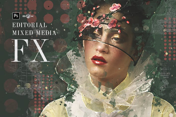 Cover Image For Editorial Mixed Media FX Photoshop Add-On