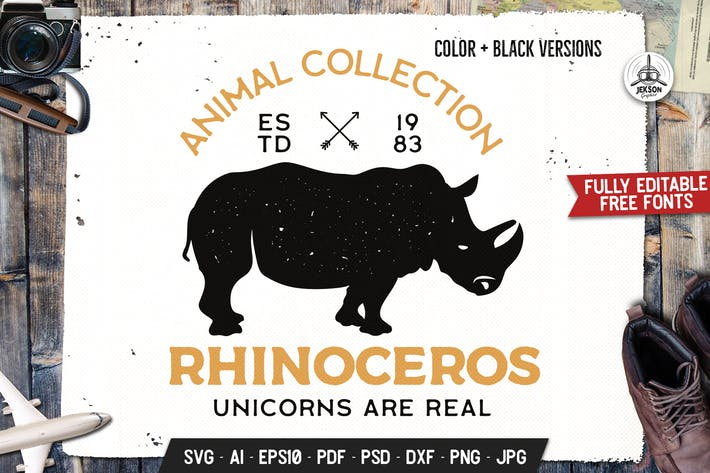 Thumbnail for Wild Animal Badge Template. Rhinoceros Vector