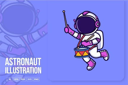 Astronaut Playing Drum