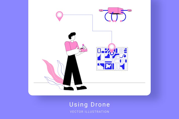 Thumbnail for Using Drone Vector Illustration