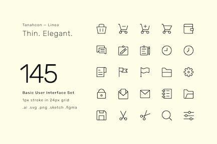 145 Juego de iconos básicos de interfaz de usuario - Linea
