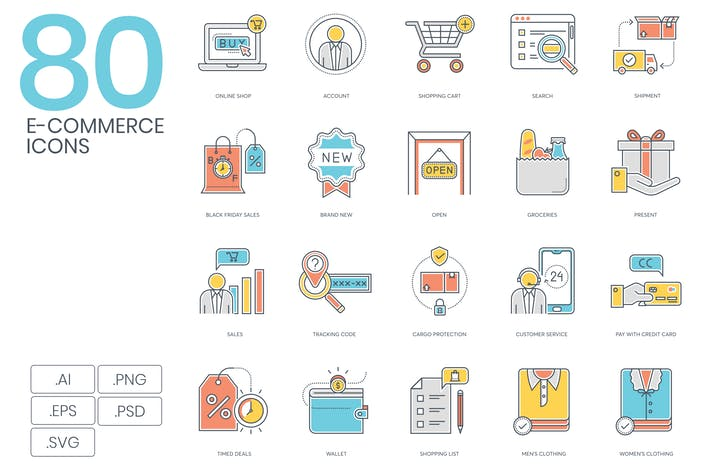 Thumbnail for 80 Shopping & E-Commerce Color Line Icons