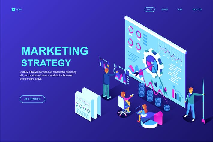 Cover Image For Digital Marketing Isometric Landing Page Template