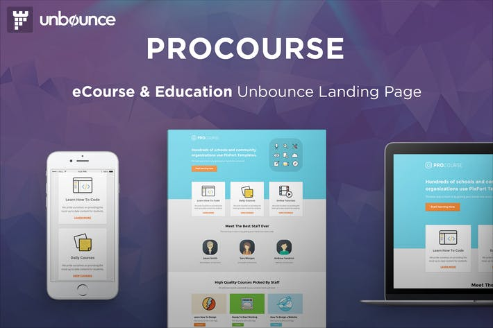 Cover Image For ProCourse - Unbounce eCourse Landing Page