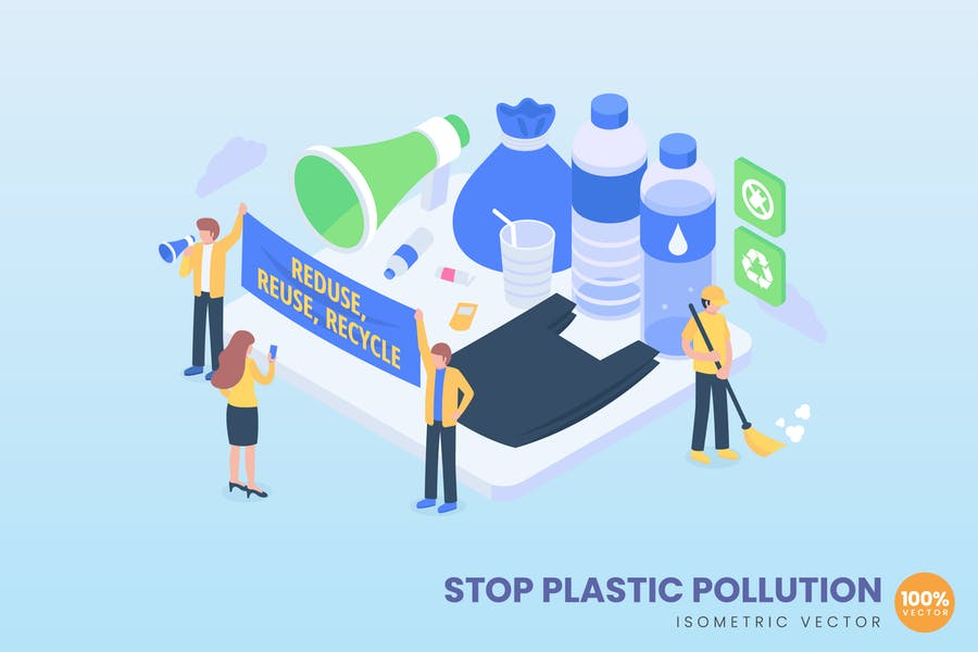 isometric Stop Plastic Pollution Concept