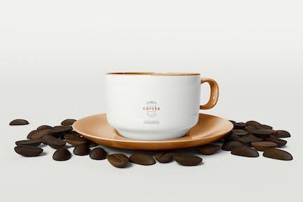 Coffee Mug Mockup with Coffee Beans