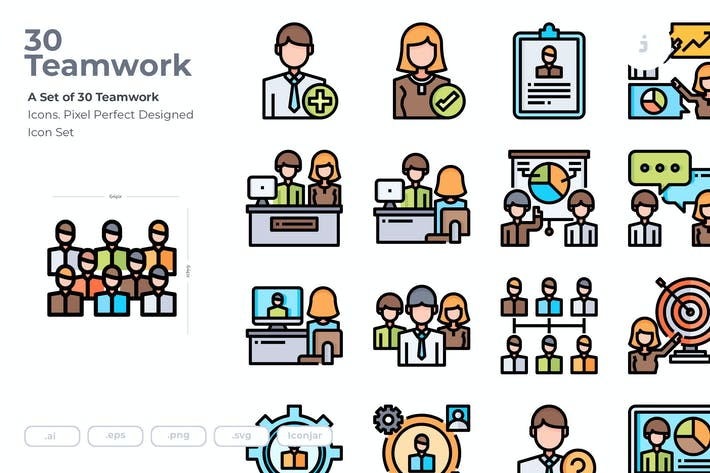 Thumbnail for 30 Teamwork Icons