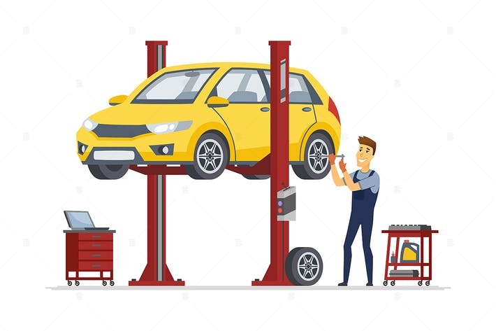 Thumbnail for Tire service - cartoon character illustration