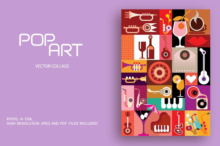 Thumbnail for Music Party pop art vector collage