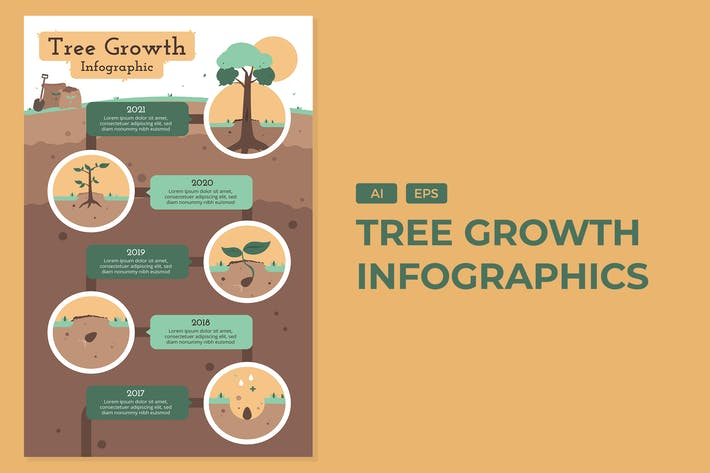 Thumbnail for Tree Growth - Environement Infographics
